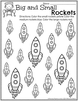 Preschool Worksheets - Measurment, Compare size and color Preschool Space Theme #spacetheme #preschoolworksheets #preschoolactivities #preschoolprintables #planningplaytime #measurementworksheets