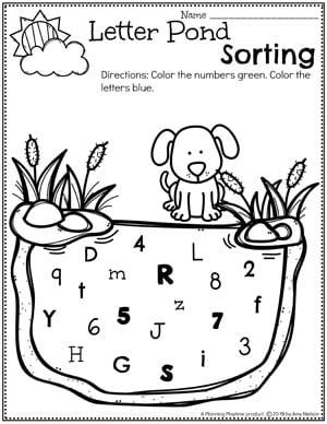 Preschool Worksheets Numbers and Letters - Sort by number or letter Pond Worksheets for Preschool #preschool #preschoolworksheets #pondtheme #planningplaytime