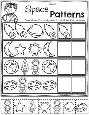 Preschool Worksheets Patterns - Continue the Patterns Worksheets for Preschool Space Theme #spacetheme #preschoolworksheets #preschoolactivities #preschoolprintables #planningplaytime