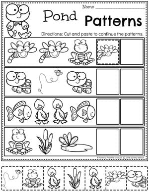 Preschool Worksheets Patterns - Pond Theme Worksheets for Preschool #preschool #preschoolworksheets #pondtheme #planningplaytime #patternsworksheets