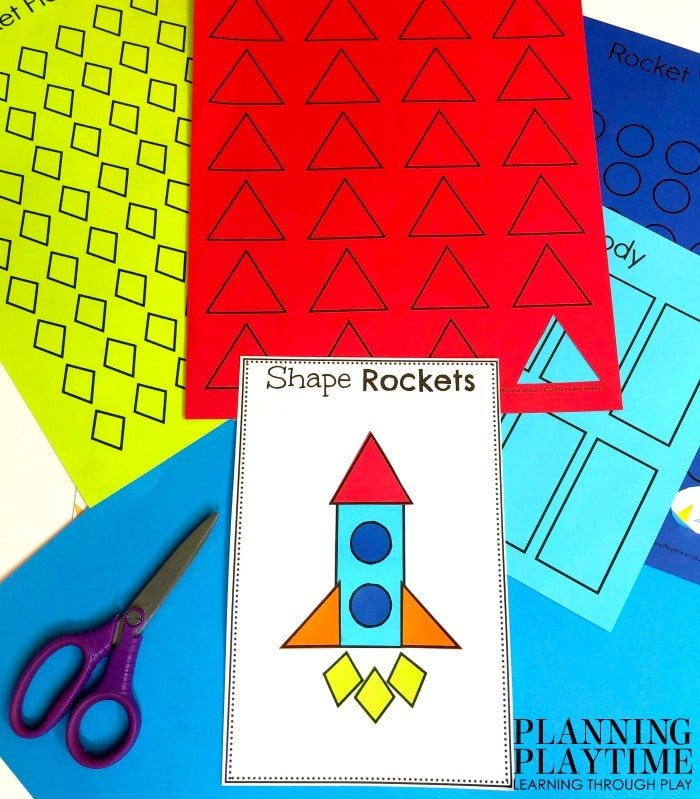 Shapes Activitie for Preschool - Build a Shapes Rocket Space theme Craft #spacetheme #preschoolworksheets #preschoolactivities #preschoolprintables #planningplaytime #preschoolshapes