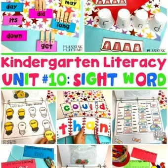 Kindergarten Sight Words Activities and Printables #sightwords #kindergartenworksheets #kindergartensightwords #planningplaytime