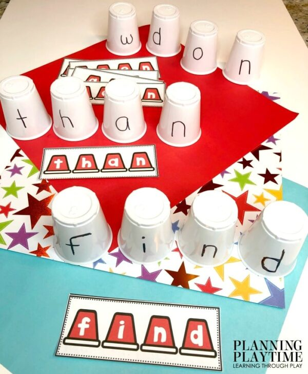 Kindergarten Sight Words Activities and Printables - Spelling Sight Words Game #sightwords #kindergartenworksheets #kindergartensightwords #planningplaytime