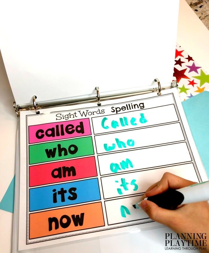 Sight Words Printables for Kindergarten - Interactive binder #sightwords #kindergartenworksheets #kindergartensightwords #planningplaytime