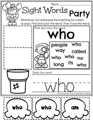 Sight Words Worksheets for Kindergarten - Kindergarten Sight Words #planningplaytime #kindergartenworksheets #sightwords #sightwordsworksheets