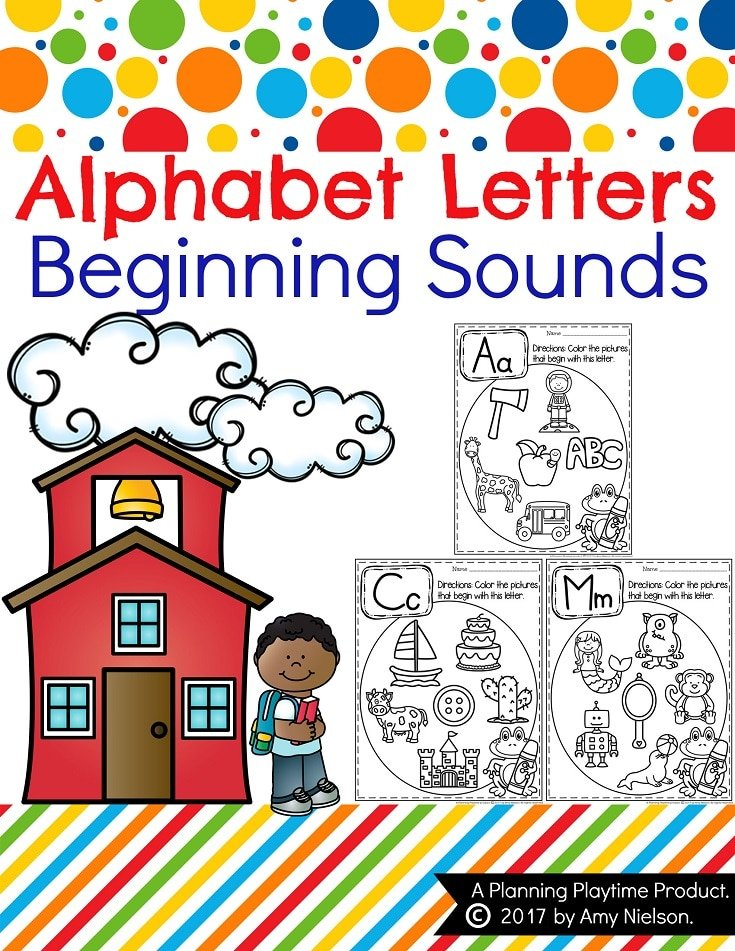 Beginning Sounds Worksheets - Preschool Alphabet Activities #alphabetworksheets #preschoolworksheets #letterworksheets #beginningsounds #planningplaytime