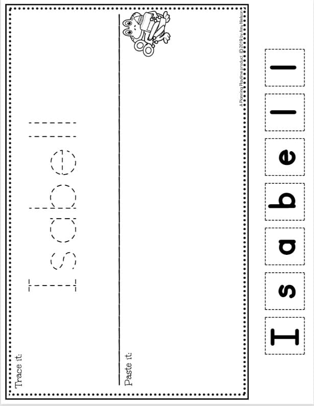Name Tracing Worksheets - Cut and Paste to Spell. Editable for the whole class in under 5 minutes #preschoolworksheets #nameworksheets #preschoolprintables #nametracing #backtoschool #planningplaytime