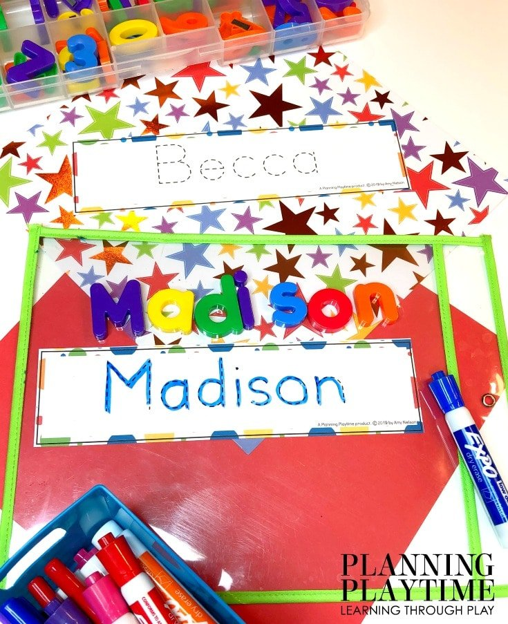 Name Tracing Worksheets for Kids - Editable Name Tracing Cards #preschoolworksheets #nameworksheets #preschoolprintables #nametracing #backtoschool #planningplaytime