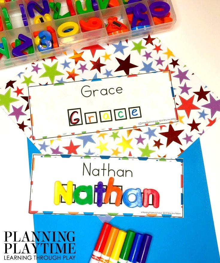 Name Worksheets for Preschool - Editable Name Printables #preschoolworksheets #nameworksheets #preschoolprintables #nametracing #backtoschool #planningplaytime