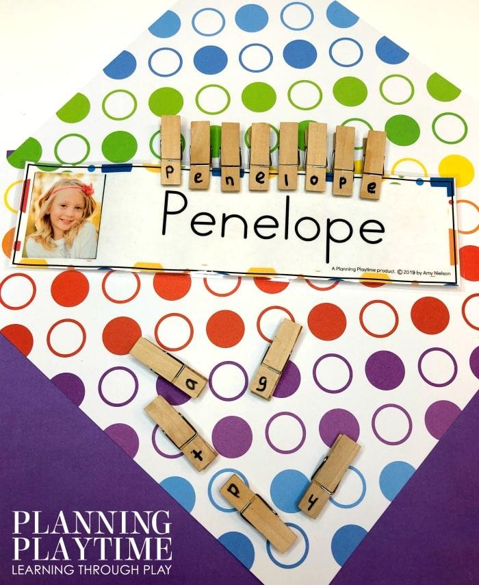 Name practice activity for preschool - Clip and Spell with Picture Clues #namepractice #preschoolactivities #planningplaytime