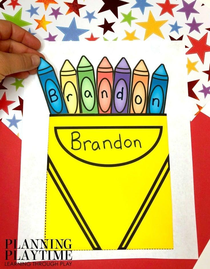 Preschool Name Craft - Fun Name Printables for Preschool #preschoolworksheets #nameworksheets #preschoolprintables #nametracing #backtoschool #planningplaytime