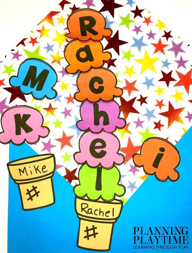 Preschool Name Craft - Ice Cream Theme #preschoolworksheets #nameworksheets #preschoolprintables #nametracing #backtoschool #planningplaytime