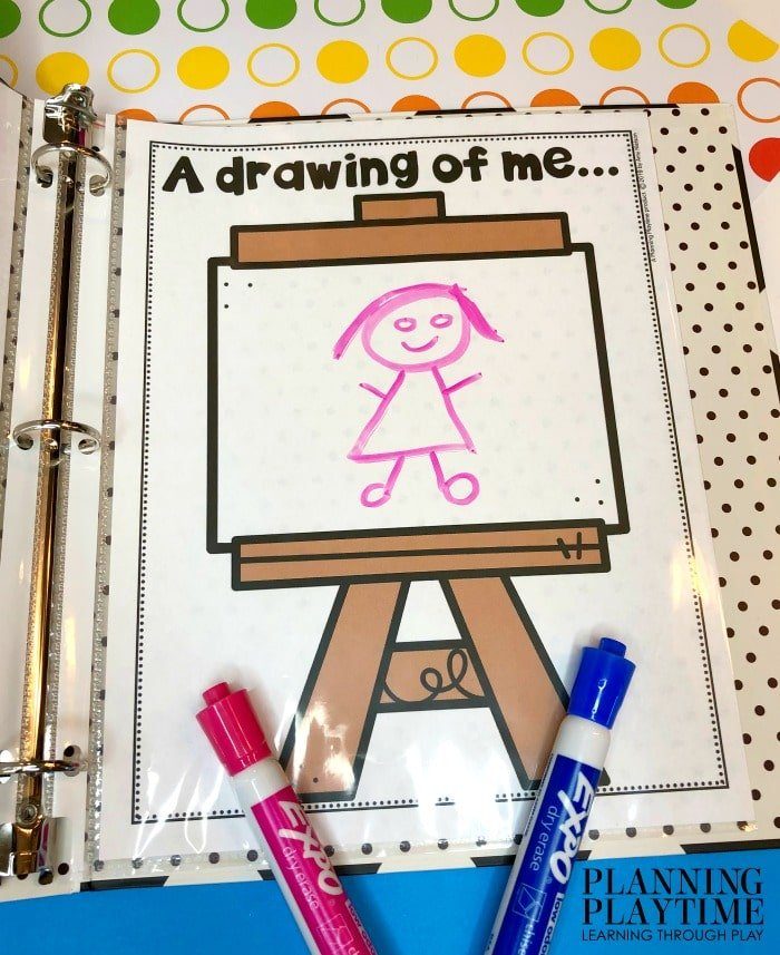 All About Me Printable in a binder - Self-Portrait drawn with dry erase marker