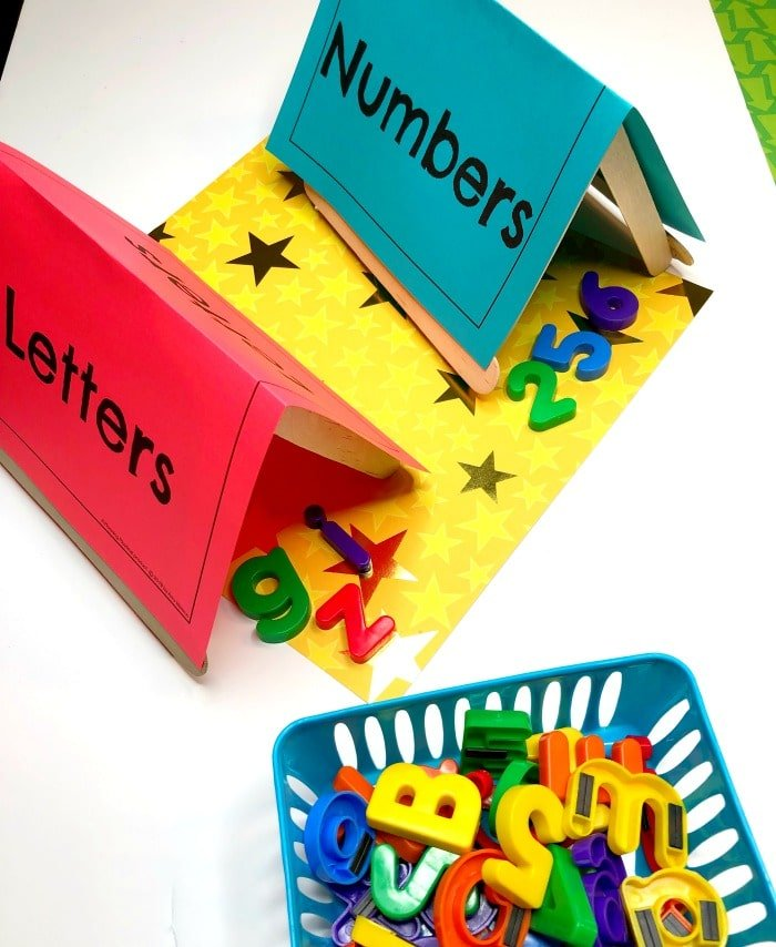 Alphabet Activities for Preschool - Letter Sorting Tents for Camping Theme #preschoolactivities #preschoolprintables #campingtheme #planningplaytime
