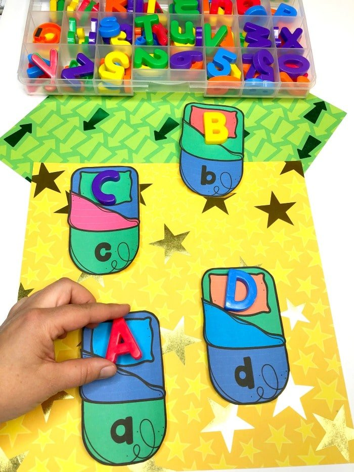 Alphabet Activities for Preschool - Letter matching game for camping theme #preschoolactivities #preschoolprintables #campingtheme #planningplaytime