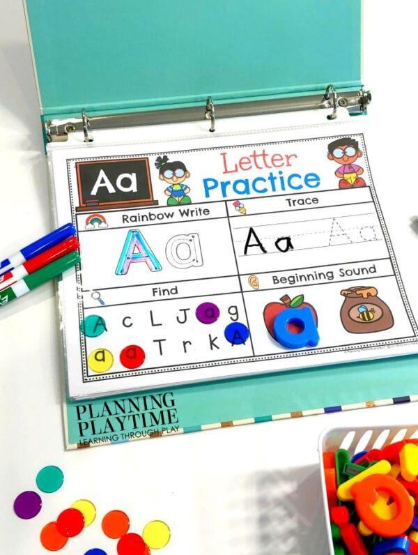 Alphabet Activities for Preschool or Kindergarten - Interactive Binder #alphabetworksheets #preschoolworksheets #planningplaytime