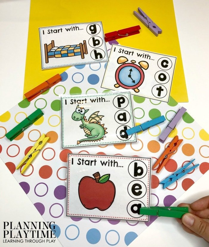 Beginning Sound Letter Recognition Activities - Clip the correct beginning sound #lettertracing #letterworksheets #alphabetworksheets #preschoolworksheets #preschoolactivities #alphabetactivities #planningplaytime