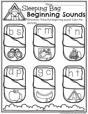 Beginning Sounds Worksheets for Preschool Camping Theme #preschoolactivities #preschoolprintables #campingtheme #planningplaytime #preschoolworksheets