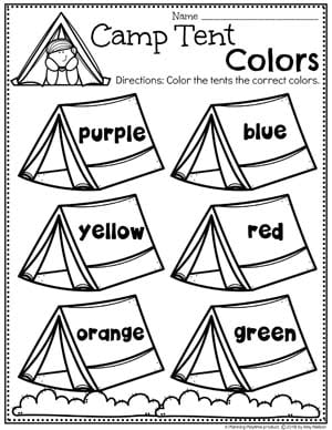 Color Worksheets for Preschool Camping Theme #preschoolactivities #preschoolprintables #campingtheme #planningplaytime #preschoolworksheets