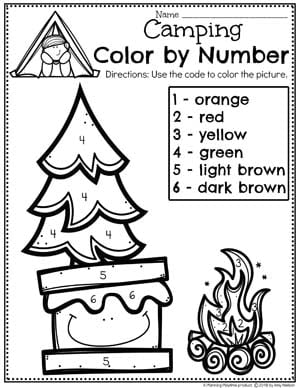 Color by Number Worksheet for Preschool - Preschool Coloring Pages Camping Theme #preschoolactivities #preschoolprintables #campingtheme #planningplaytime #preschoolworksheets