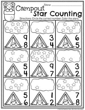 Counting Worksheets for Preschool - Camping Theme #preschoolactivities #preschoolprintables #campingtheme #planningplaytime #preschoolworksheets
