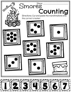 Counting Worksheets for Preschool - Dot Counting Activity Camping Theme #preschoolactivities #preschoolprintables #campingtheme #planningplaytime #preschoolworksheets