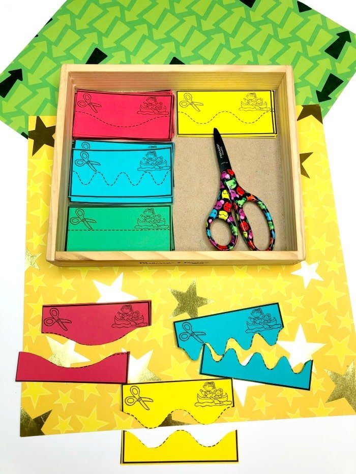 Cutting Practice Activities for Preschool Camping Theme #preschoolactivities #preschoolprintables #campingtheme #planningplaytime