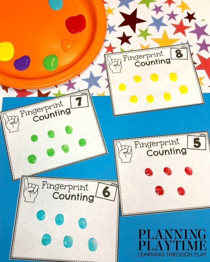 All About Me cards with numbers to count fingerprint stamps.