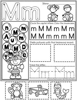 Alphabet Worksheets - M - Letter Tracing Worksheets and activities #preschoolworksheets #preschoolprintables #alphabetworksheets #planningplaytime