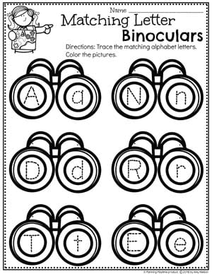 Letter Recognition Worksheets for Preschool - Letter matching activity camping theme #preschoolactivities #preschoolprintables #campingtheme #planningplaytime #preschoolworksheets