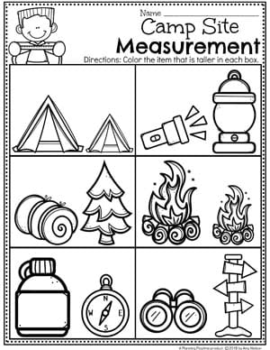 Measurement Worksheets for Preschool Camping Theme #preschoolactivities #preschoolprintables #campingtheme #planningplaytime #preschoolworksheets
