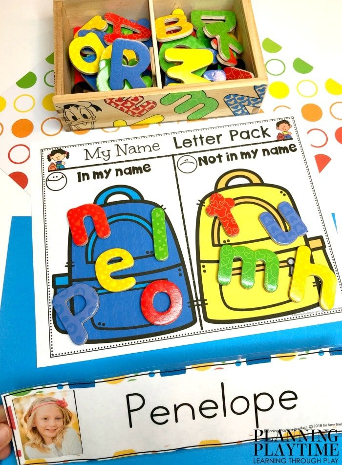 Printable with backpacks and sorted letters by in the name or not.