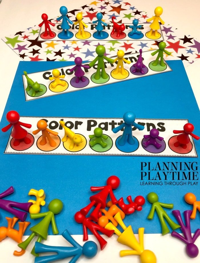 Pattern cards with color circles and colorful people counters making the pattrens.
