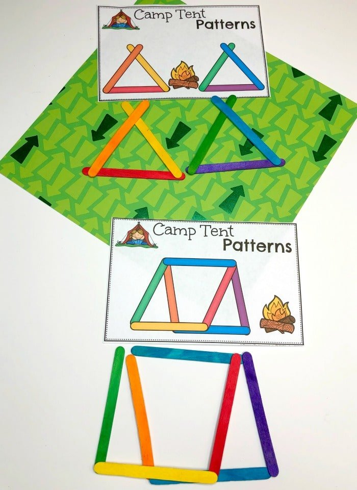 Patterns Activity for Preschool - Color Craft Stick Patterns #preschoolactivities #preschoolprintables #campingtheme #planningplaytime