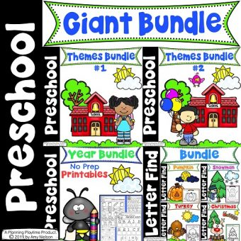 Preschool Curriculum Bundle for the full Year. #preschoolcurriculum #preschoolactivities #preschoolful #preschoolprintables #planningplaytime
