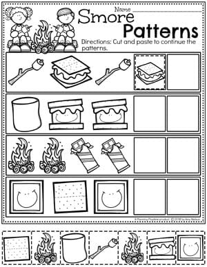 Preschool Patterns Worksheets for Preschool - Cut Paste and Color Patterns #preschoolactivities #preschoolprintables #campingtheme #planningplaytime #preschoolworksheets