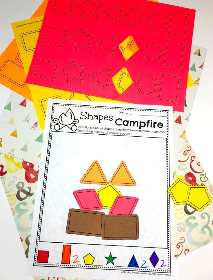 Preschool Shapes Activity - Preschool Camping theme #preschoolactivities #preschoolprintables #campingtheme #planningplaytime