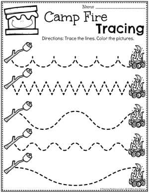 Preschool Worksheets Tracing - Camping theme #preschoolactivities #preschoolprintables #campingtheme #planningplaytime #preschoolworksheets