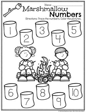 Tracing Worksheets for Preschool - Tracing numbers Camping Theme #preschoolactivities #preschoolprintables #campingtheme #planningplaytime #preschoolworksheets