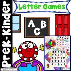 Fun Alphabet Games Pack for Preschool or Kindergarten. Bingo, Battleship, Yatzee and Tic Tac Toe.