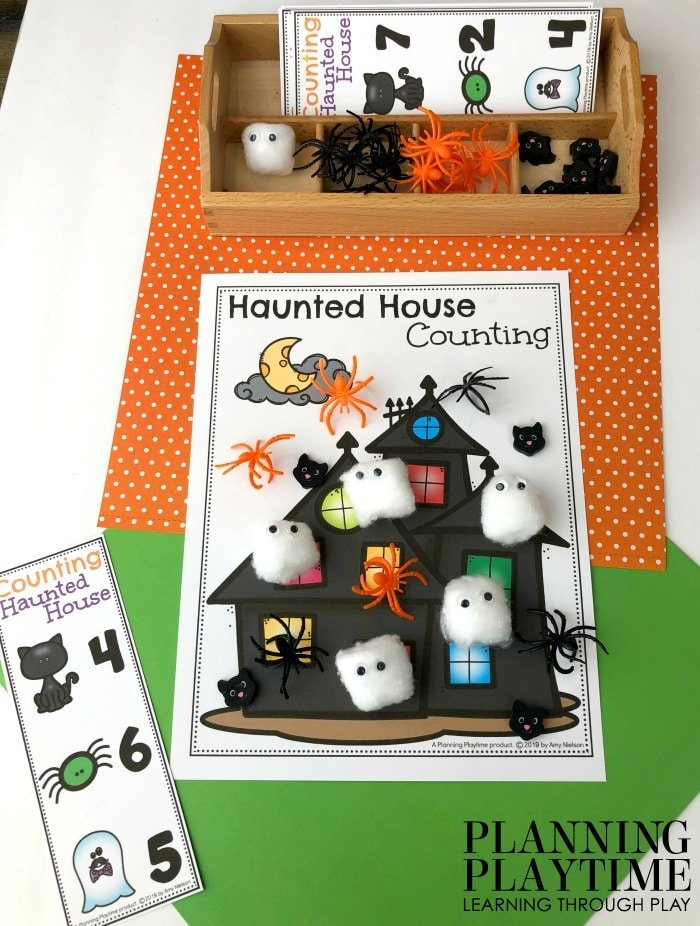 Fall Preschool Counting Mats - Haunted House