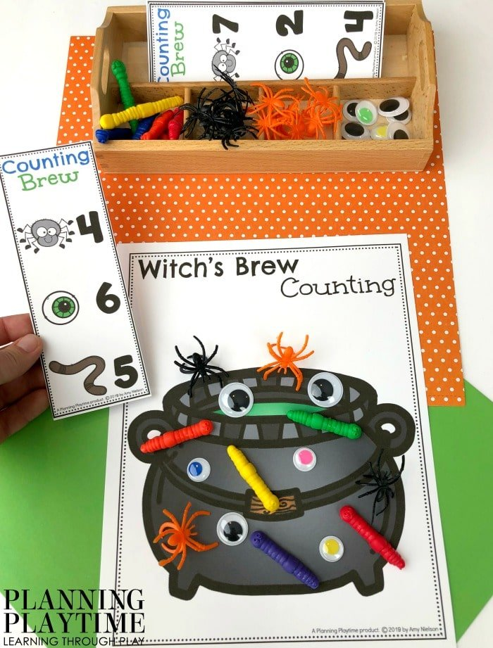 Fall Preschool Counting Mats - Witch's Brew