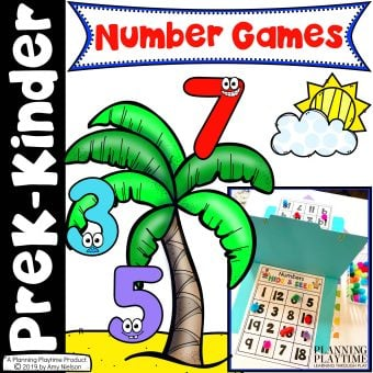 Number Games for Preschool Math Activities. Bingo, Tic Tac Toe, Battleship and Yatzee.