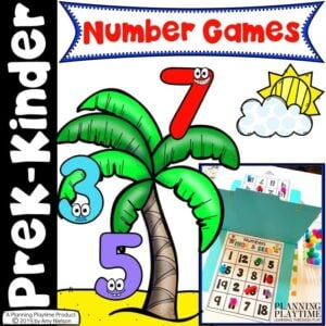 Number Games for Preschool Math Activities. Bingo, Tic Tac Toe, Battleship and Yatzee.
