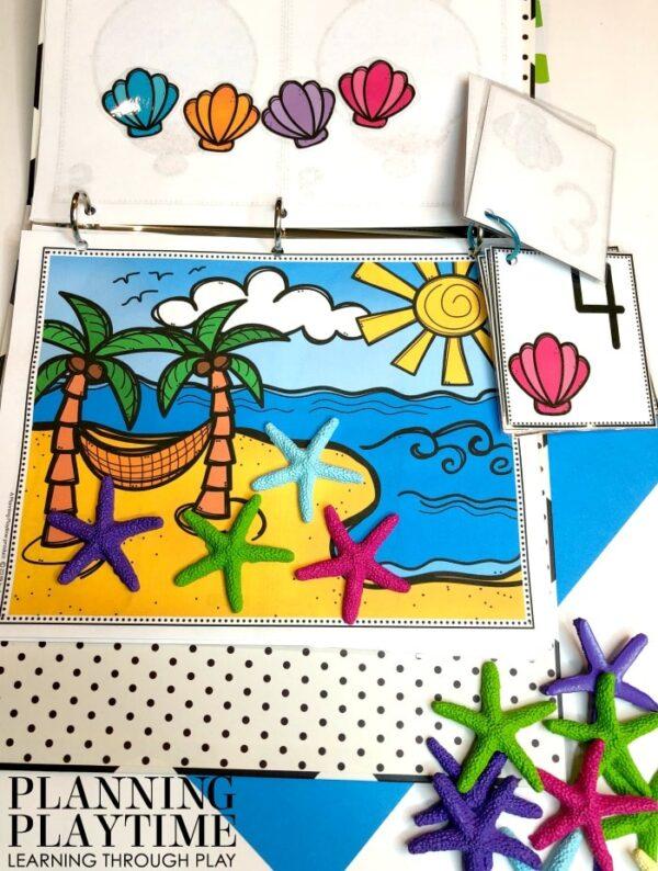 Preschool Counting Activities Binder - Counting Shells