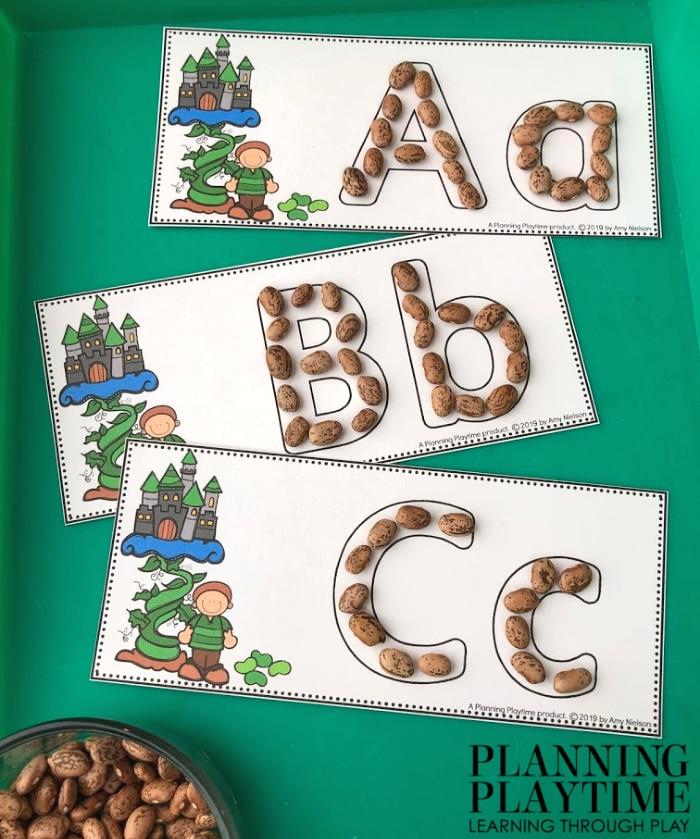 Alphabet Activity for Preschool Fairy Tale Theme - Jack and the Beanstalk