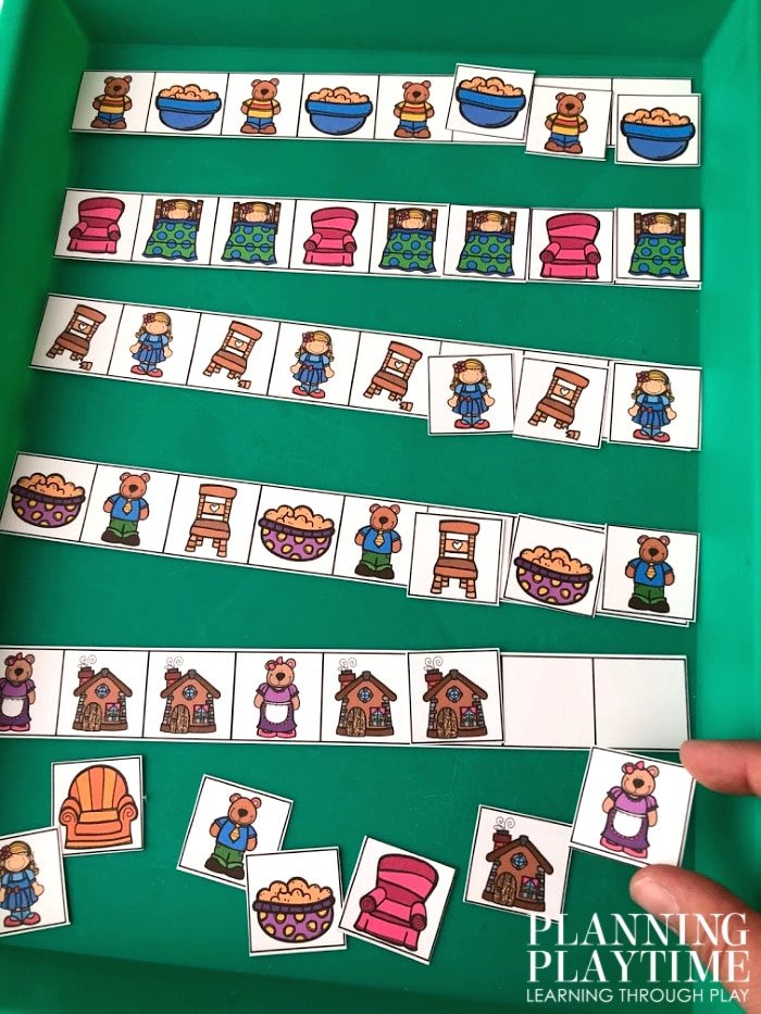 Patterns Activity for Preschool Fairy Tale Theme - Goldilocks and the 3 Bears