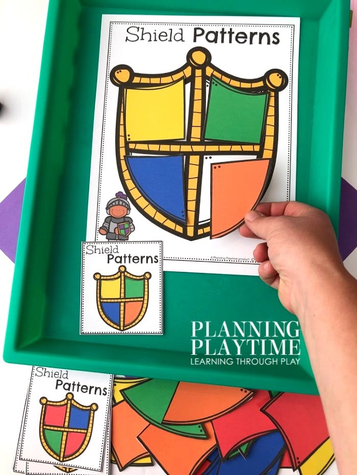 Patterns Activity for Preschool Fairy Tale Theme - Shield Color Patterns