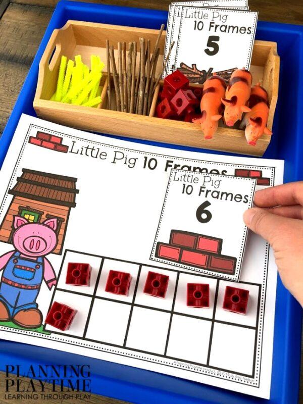 Preschool Math Activity 10 Frames , Fairy Tale Theme - 3 Little Pigs