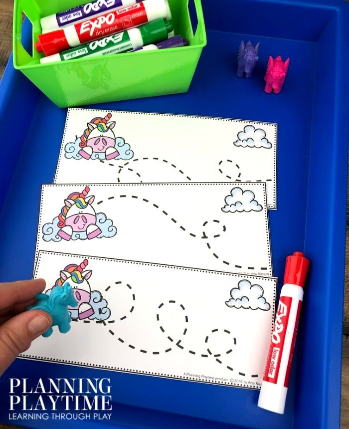 Tracing Activity for Preschool Fairy Tale Theme - Unicorn Flight